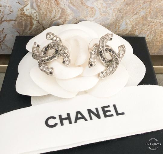 Chanel Chanel Twisted Two-Tone Large Crystal CC Silver Earrings Image 2
