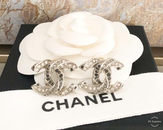Chanel Chanel Twisted Two-Tone Large Crystal CC Silver Earrings Image 3