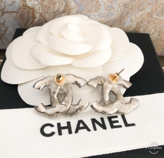 Chanel Chanel Twisted Two-Tone Large Crystal CC Silver Earrings Image 5