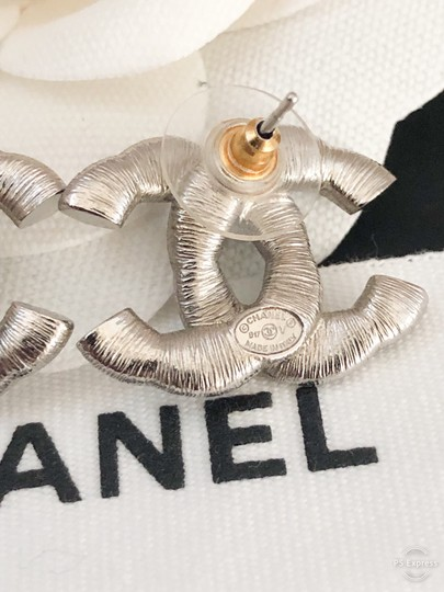 Chanel Chanel Twisted Two-Tone Large Crystal CC Silver Earrings Image 6