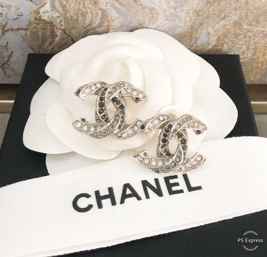 Chanel Chanel Twisted Two-Tone Large Crystal CC Silver Earrings Image 8