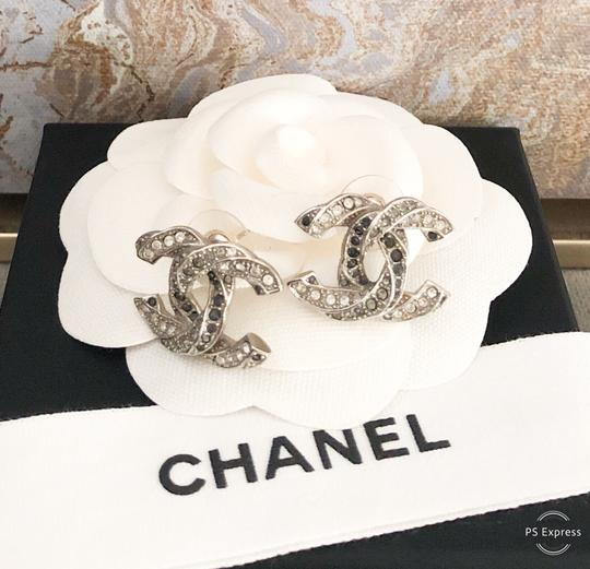 Chanel Chanel Twisted Two-Tone Large Crystal CC Silver Earrings Image 9