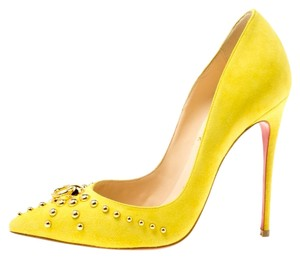 Christian Louboutin Suede Studded Pointed Toe Yellow Pumps