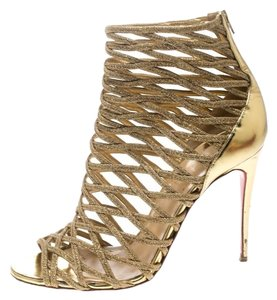 Christian Louboutin Glitter Leather Gold Boots