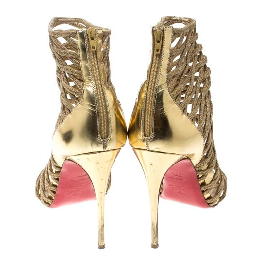 Christian Louboutin Glitter Leather Gold Boots Image 4