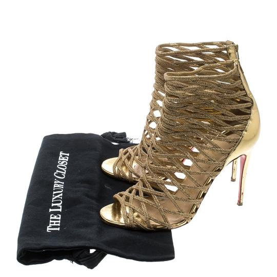 Christian Louboutin Glitter Leather Gold Boots Image 7