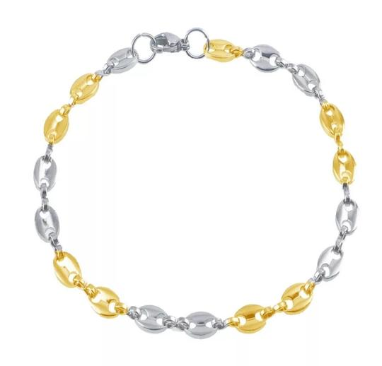 Preload https://img-static.tradesy.com/item/25329330/-14k-yellow-goldstainless-steel-two-tone-gucci-style-link-5mm7-inch-women-s-bracelet-necklace-0-1-540-540.jpg