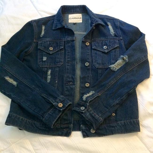 Carmar Dark Blue Washed Womens Jean Jacket Image 4