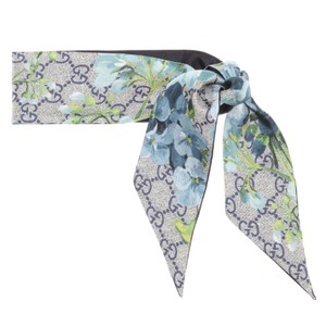 Gucci bloom logo floral silk scarf