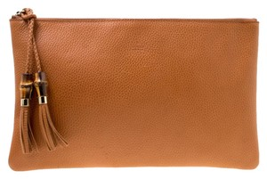 Gucci Leather Braided Brown Clutch
