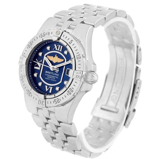 Breitling Breitling Starliner Blue Diamond Dial Steel Ladies Watch A71340 Image 3
