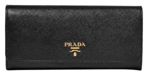 Prada saffiano leather flap continental long wallet