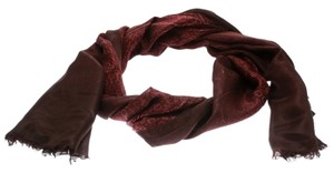 Gucci Burgundy Ombre Printed Silk Fringed Edge Scarf