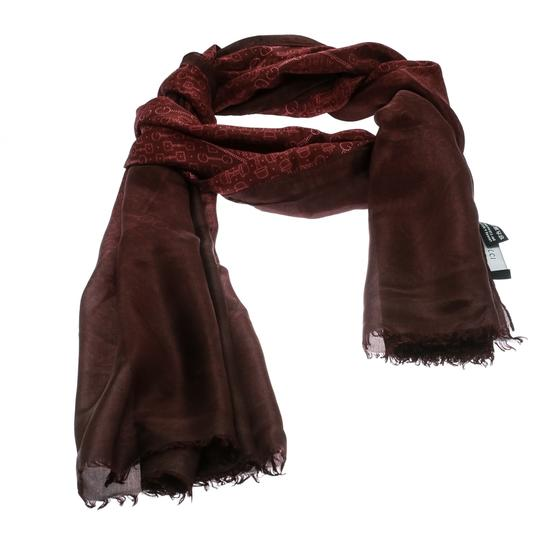 Gucci Burgundy Ombre Printed Silk Fringed Edge Scarf Image 1