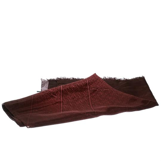 Gucci Burgundy Ombre Printed Silk Fringed Edge Scarf Image 2