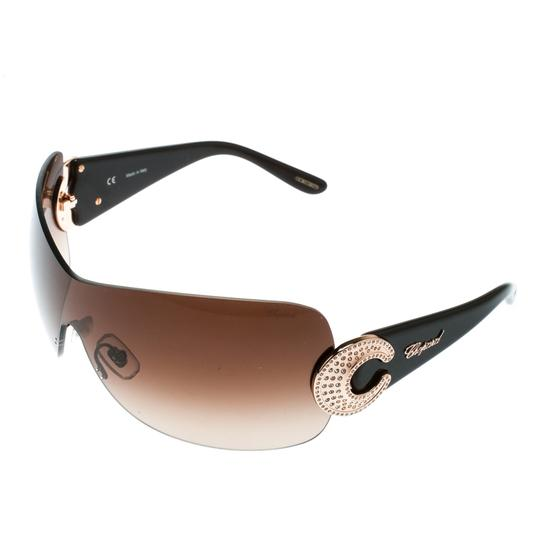 Chopard Brown/Brown Gradient SCH 939S Crystal Embellished Shield Sunglasses Image 2