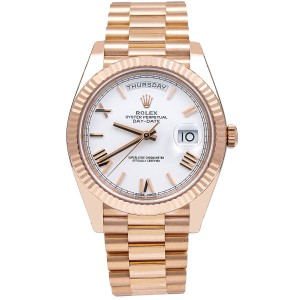 Rolex Rolex Day-Date 228235 40MM White Dial With Rose Gold President