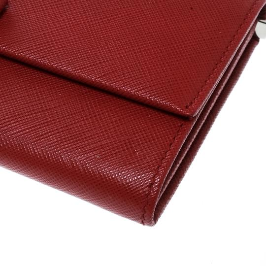 Salvatore Ferragamo Red Leather Vara Bow Continental Wallet Image 5