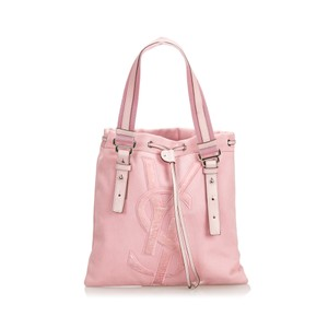 Saint Laurent 9dysto003 Vintage Ysl Canvas Leather Tote in Pink