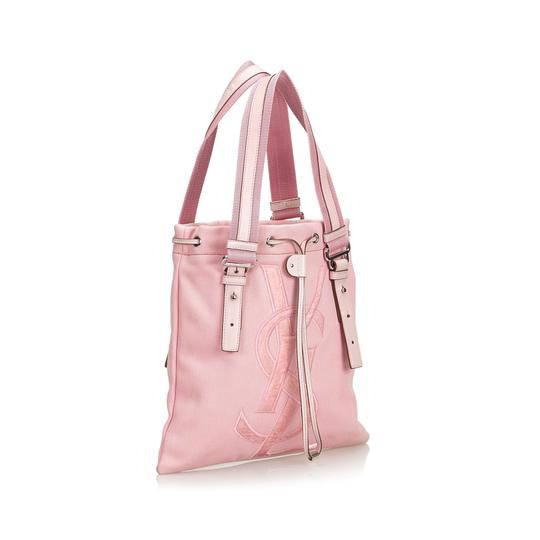 Saint Laurent 9dysto003 Vintage Ysl Canvas Leather Tote in Pink Image 1