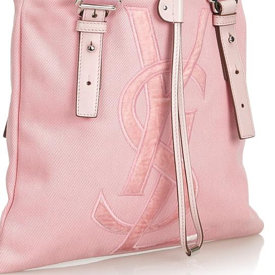 Saint Laurent 9dysto003 Vintage Ysl Canvas Leather Tote in Pink Image 10