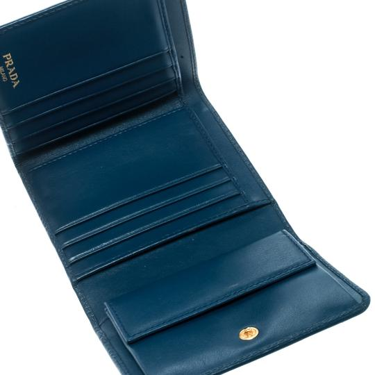 Prada Blue Leather Trifold Wallet Image 2