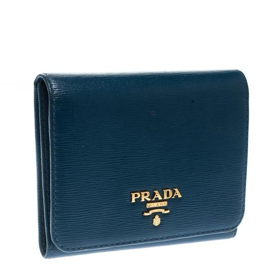 Prada Blue Leather Trifold Wallet Image 3