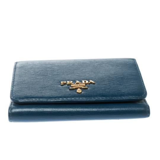 Prada Blue Leather Trifold Wallet Image 4