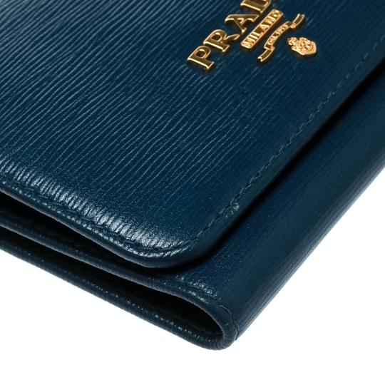 Prada Blue Leather Trifold Wallet Image 5