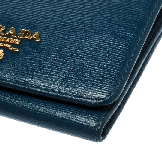 Prada Blue Leather Trifold Wallet Image 6