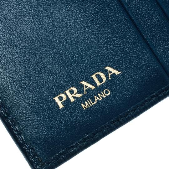 Prada Blue Leather Trifold Wallet Image 7