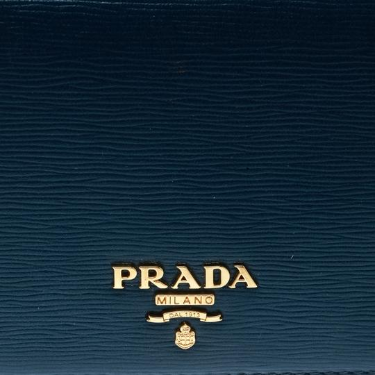 Prada Blue Leather Trifold Wallet Image 8