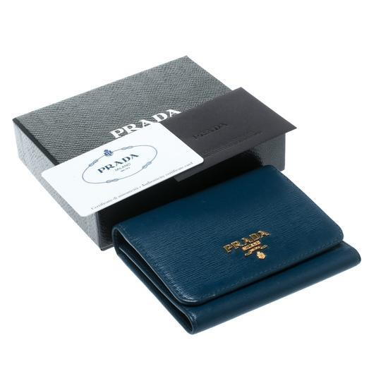 Prada Blue Leather Trifold Wallet Image 9