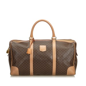 Céline 9dcetr005 Vintage Plastic Leather Brown Travel Bag