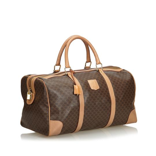 Céline 9dcetr005 Vintage Plastic Leather Brown Travel Bag Image 1