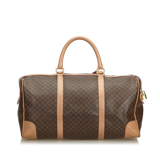 Céline 9dcetr005 Vintage Plastic Leather Brown Travel Bag Image 2