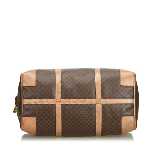 Céline 9dcetr005 Vintage Plastic Leather Brown Travel Bag Image 3