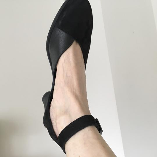 Arche Ankle Strap Open Chunky Heel Black suede Pumps Image 1