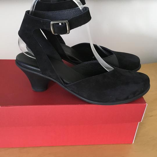 Arche Ankle Strap Open Chunky Heel Black suede Pumps Image 2