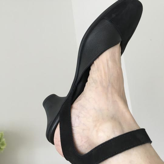 Arche Ankle Strap Open Chunky Heel Black suede Pumps Image 3