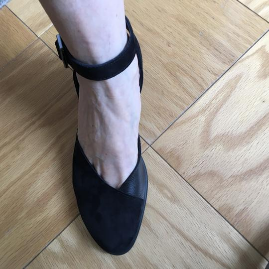 Arche Ankle Strap Open Chunky Heel Black suede Pumps Image 9