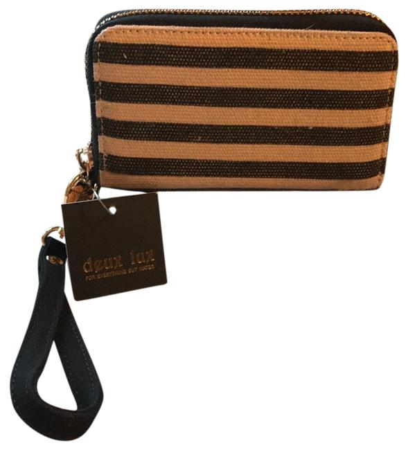 """Item - """"for Everything But Water"""" Black/Cream/Gold Canvas Wristlet"""