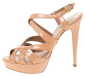 Miu Miu Patent Leather Platform Ankle Strap Beige Sandals