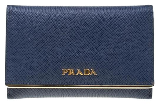 Prada Blue Saffiano Leather Flap Wallet Image 0