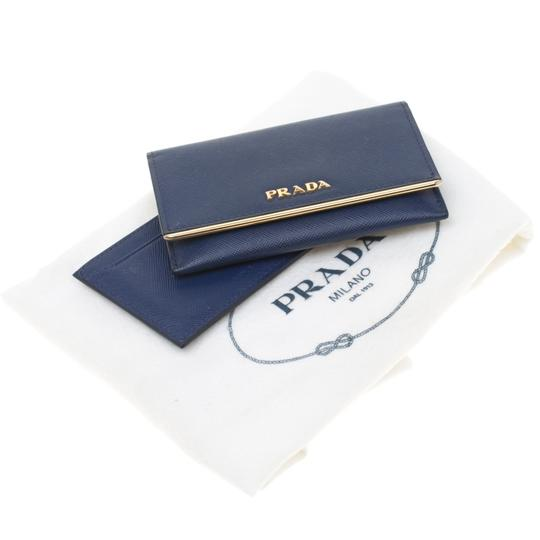 Prada Blue Saffiano Leather Flap Wallet Image 10