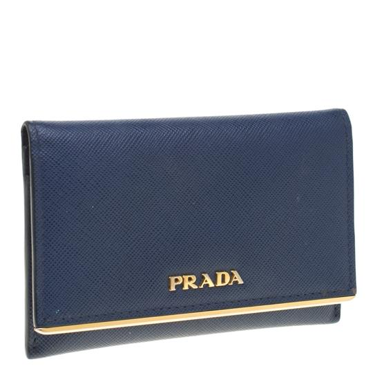 Prada Blue Saffiano Leather Flap Wallet Image 2