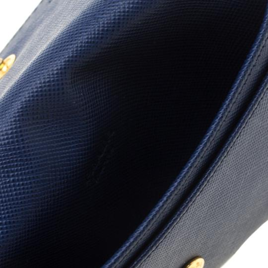 Prada Blue Saffiano Leather Flap Wallet Image 5