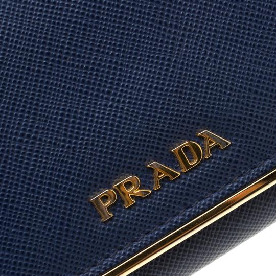 Prada Blue Saffiano Leather Flap Wallet Image 9