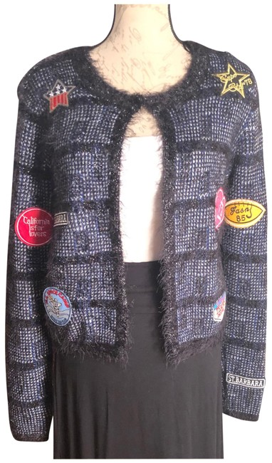 Item - Black/Blue/Silver/Red/Yellow Nwt-small Black/Blue/Silver Threaded Patch Cardigan Size 6 (S)