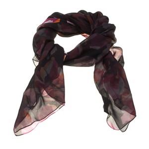 Gucci Multicolor Floral Printed Double Faced Silk Chiffon Scarf